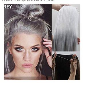 Silver Gray Halo Hair Extension 20""